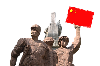 guilin photography tour,guilin photo tour,statue,flag china