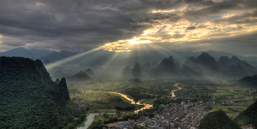 """Gorgeous Guilin landscape photography tour: sunrise from laozhai hill xingping china."""