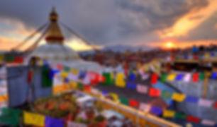 sunset boudhanath kathmandu nepal