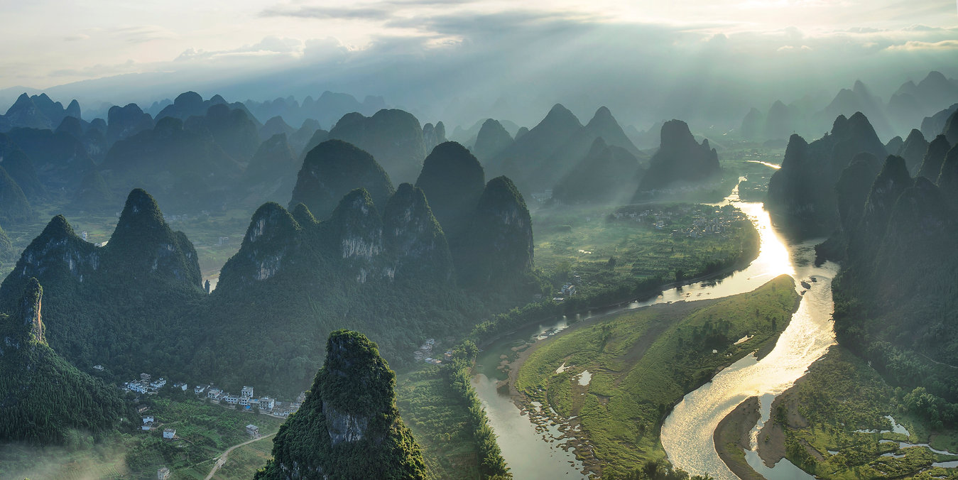 """Amazing Guilin photography tour: Li river and karst hills from damianshan xingping china."""