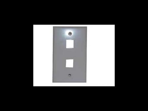 Placa de pared rectangular sin caja 2 puertos RJ-45