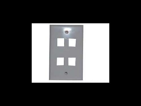 Placa de pared rectangular sin caja 4 puertos RJ-45
