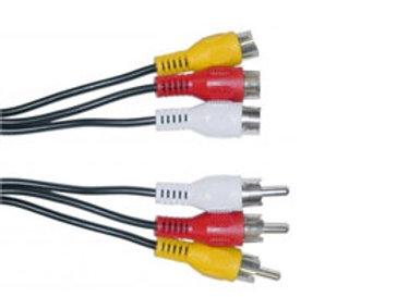 Extensión 3 RCA Macho  - Hembra rojo, blanco, amarillo  10 mt