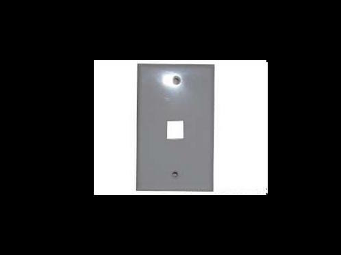 Placa de pared rectangular sin caja 1 puerto RJ-45