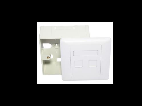 Placa de pared cuadrada con caja 2 ptos 86 x86mm