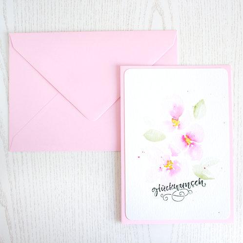 """Karte A5 """"Glückwunsch - rosa Blumen"""""""