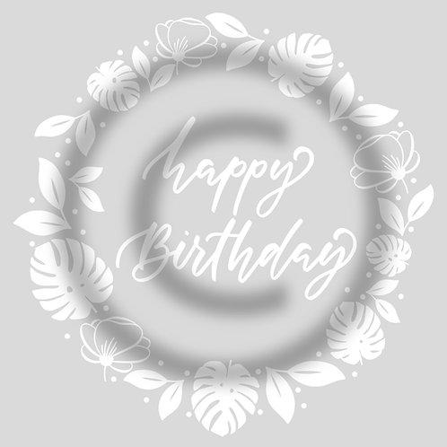 """Schriftzug """"Happy Birthday"""" mit Kranz Monstera"""
