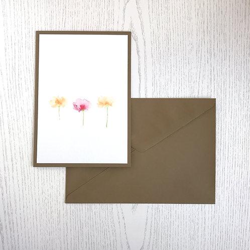 Karte 3-er Blumen