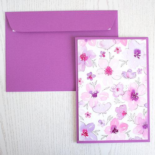 """Karte A5 """"Blumenmeer rosa/violet"""""""