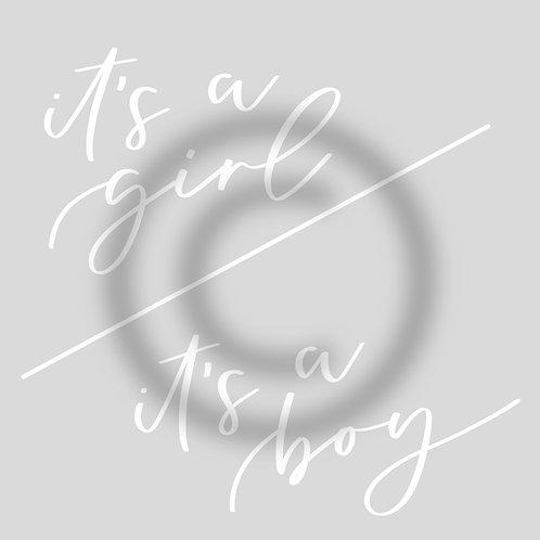 """Schriftzug """"it's a girl""""/""""it's a boy"""""""