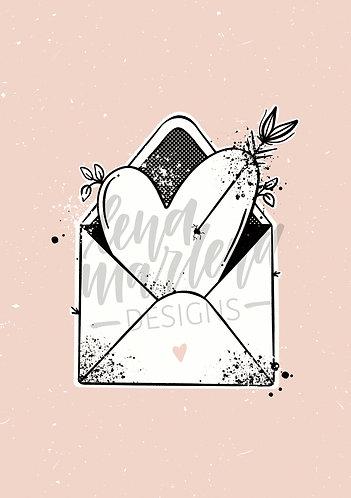 """Valentinskarte """"HerzUmschlag"""" (jpeg+PDF)"""