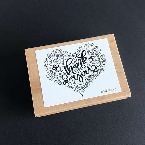 "Stempel ""Thank you"" im Herz, 10x7 cm"
