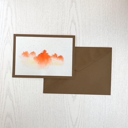 Karte Aquarell-Wald orange