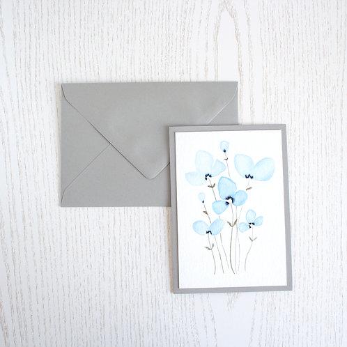"Karte A6 ""Blumengruppe blau"""