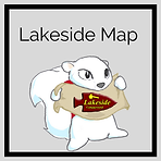 """""""Lakeside Map"""" White squirrel holding banner with Lakeside logo"""