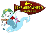 white squirrel with camping gear and Lake Arrowhead logo