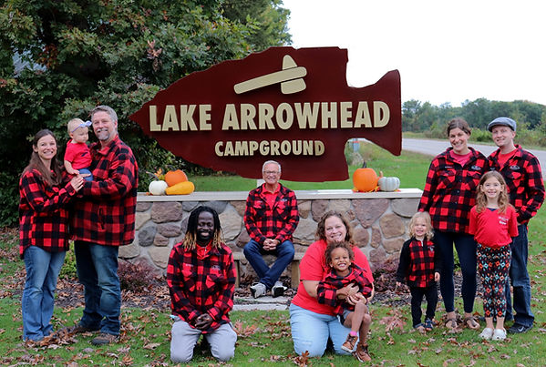 Photo of the Malsack Family in front of the Lake Arrowhead Campground sign.