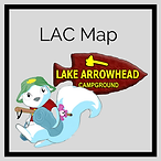 """""""LAC Map"""" and White Squirrel with Camping Gear and Lake Arrowhead Logo"""