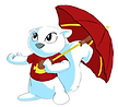 Albie the white squirrel with an umbrella