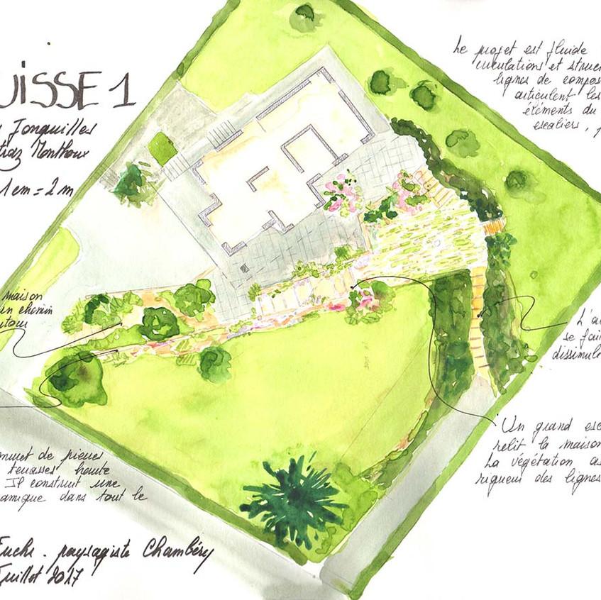 Créer un axe de composition qui dessine la terrasse, inscrive l'escalier et délimite jardin haut et bas.