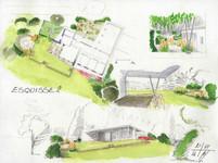 Les espaces de vie sont intégrés au jardin.