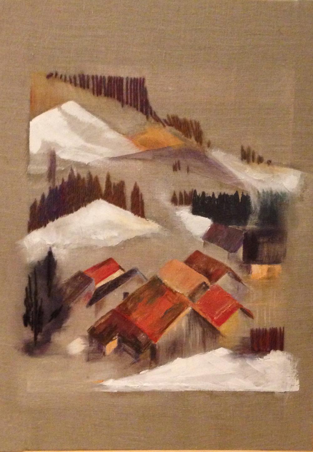 Collages, peinture, broderies - 70x50