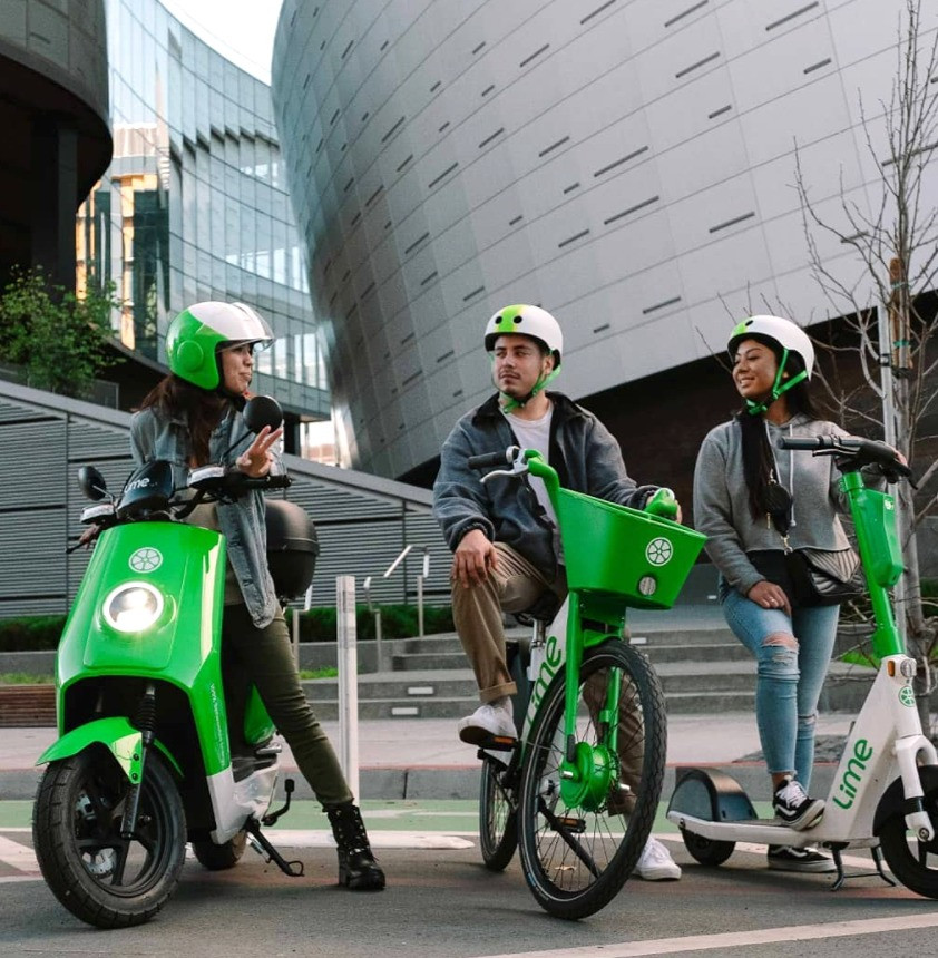 Lime bike, moped, and scooters