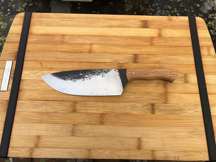 kitchen knife with oak handle