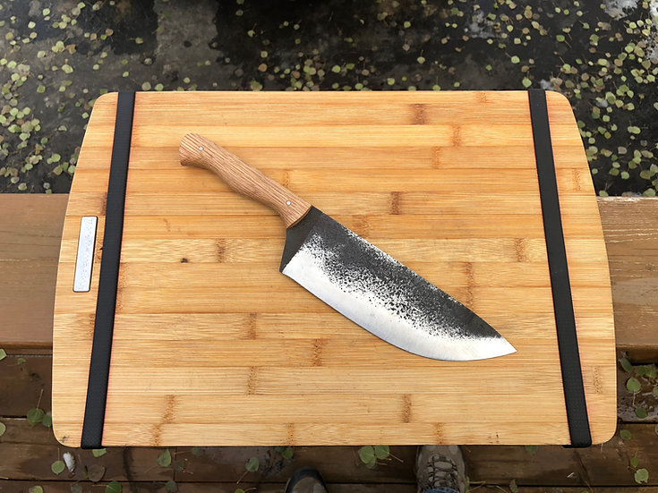 chefs knife with oak handle