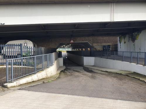 Under the A13 viewed from Wharfside Road, pedestrian access point to the site from Canning Town Station