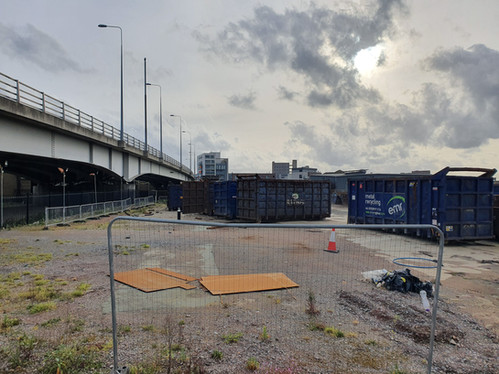 View to the west of the site from Wharfside Road, observing the connection with the A13 overpass