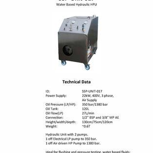 Water Based Hydraulic HPU