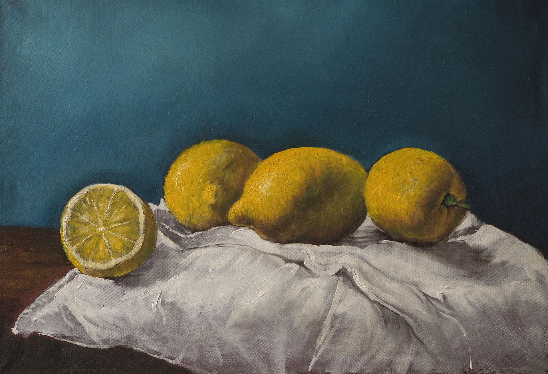 Citrons sur toile