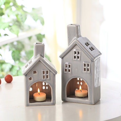Ceramic house candle holder