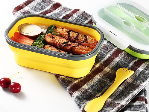 Japanese style silicone folding lunchbox with plastic utensils