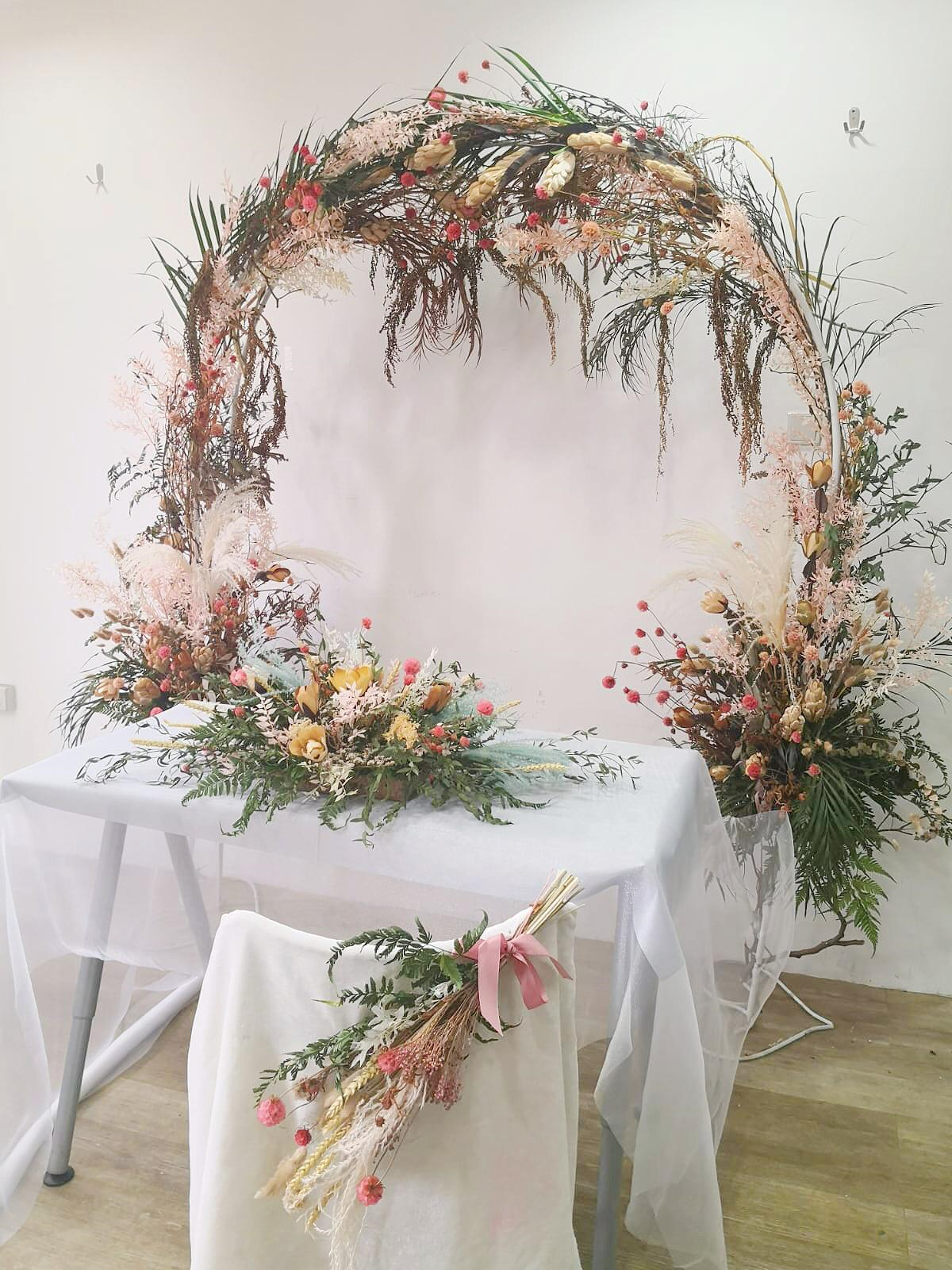 Dried floral arch