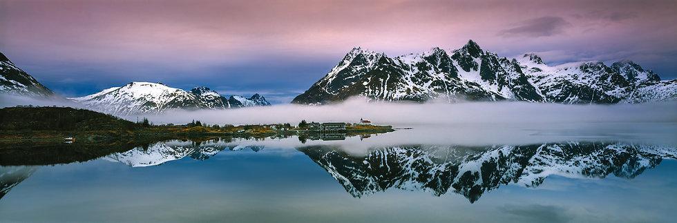 Adam Crews Imagery, Adam Crews, Adam Crews Photography, Sunrise, Fjord, Fog, Mountains, Lofoten Islands, Norway, Europe