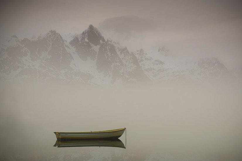 Adam Crews Imagery, Adam Crews, Adam Crews Photography, Sunrise, Fjord, Boat, Fog, Mountains, Lofoten Islands, Norway, Europe
