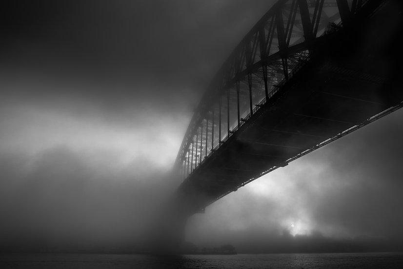 Adam Crews Imagery, Adam Crews, Adam Crews Photography, Black & White, Sydney, Sydney Harbour Bridge, Fog, Australia
