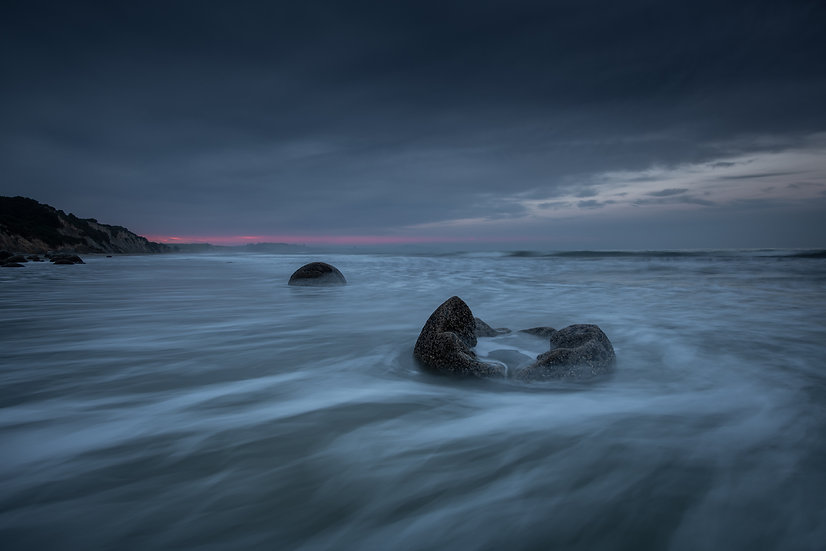 Adam Crews Imagery, Adam Crews, Adam Crews Photography, New Zealand, Moeraki Boulders, Ocean, Swell, Long Exposure, Sunrise