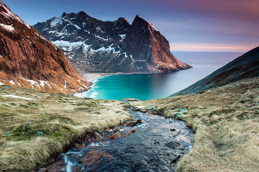 Adam Crews Imagery, Adam Crews, Adam Crews Photography, Sunset, Kvalvika Beach, Mountains, Lofoten Islands, Norway, Europe