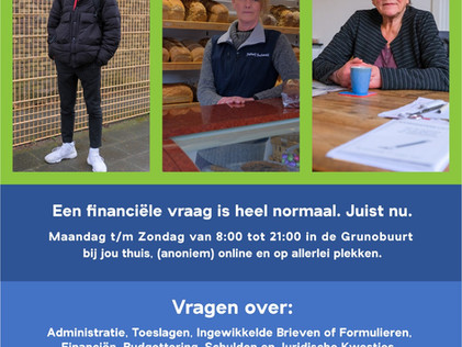 """Actiemaand """"Samen Financieel Sterk"""" in de Grunobuurt"""