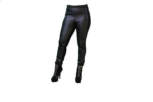 Leather Criss Cross Pattern Leggings