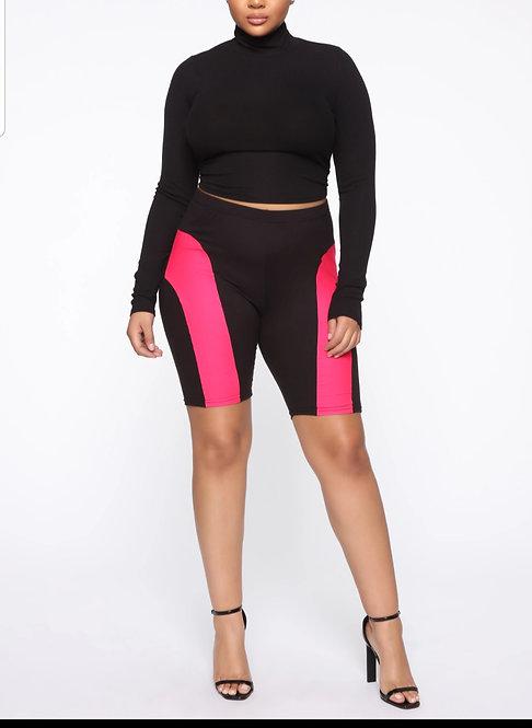 Love Me /biker Shorts- Black/Pink
