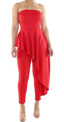 Tube Top High Low Layered Jumpsuit