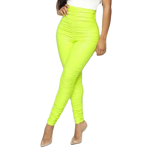Dare Devil Chick Ruched Leggings- Neon Yellow