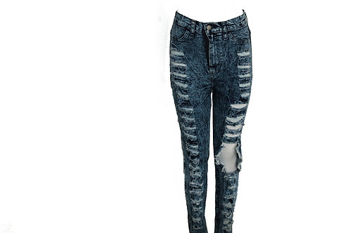 Ripped Down High Rise Jeans