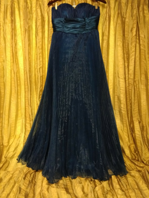 Vintage Turquoise Strapless Pleated Prom Bridesmaid Dress Size 8
