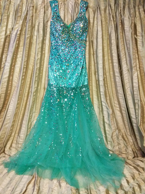 Tony Bowl Turquoise Formal Prom Dress - Size 10