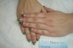 Akryl negle med glimmer kant